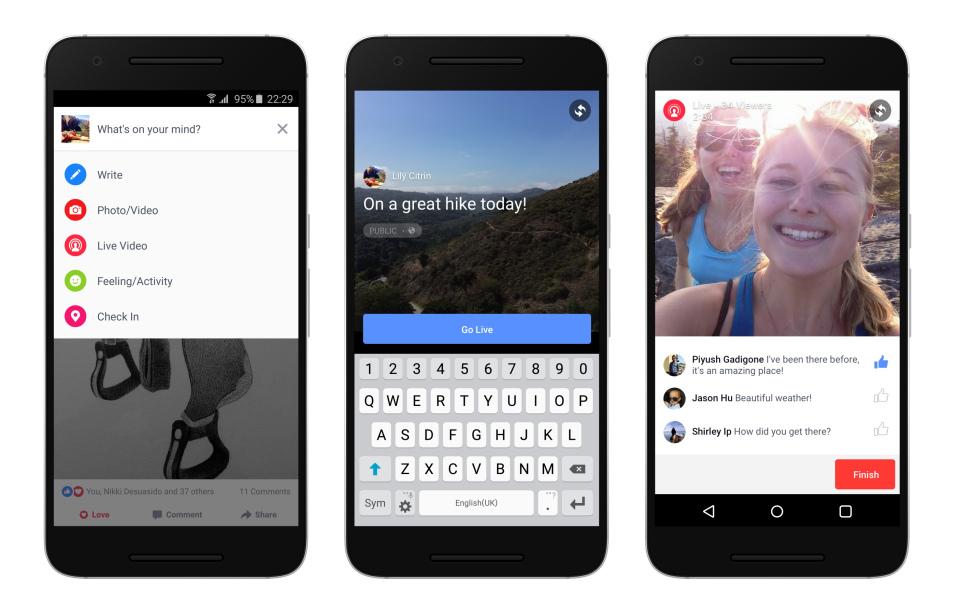 Facebook Live broadcast app